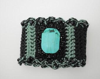 Black Turquoise Beaded Cuff Bracelet