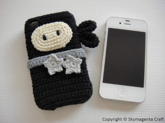 Crochet iPhone 4 / 4s Case - BLACK NINJA