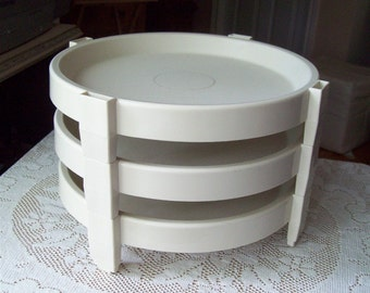 Vintage Tupperware Three Pie Stackers Divide a Rack Serving