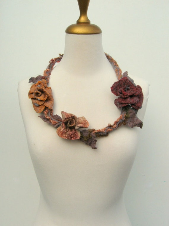 Felted Flower  Faerie Necklace Mustard, Bordeaux Deep Red,  Rust, Brown and Grey