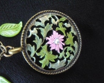 Pink & Green Flower Pendant Necklace hand painted