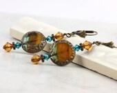 Tribal Jewelry Boho Earrings Topaz Blue Zircon Crystal Bronze Ear Wires Bohemian Style Fall Fashion