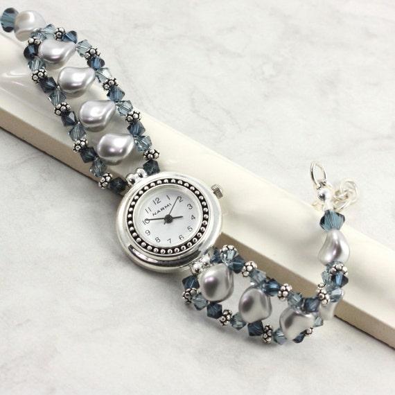 Silver Band Bracelet: Pearl Beaded Watch Band Gray Blue Sapphire Crystal Bracelet