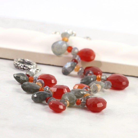 Chalcedony Bracelet Labradorite Gray Gemstone Pomegranate Carnelian Mothers Day for Mom Beaded Bracelet