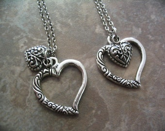 Heart Necklaces Mother Daughter Big Sister Little Sister Gift