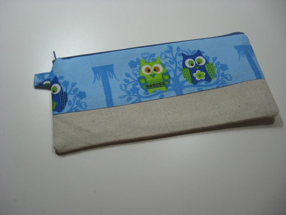 Pencil Case Pouch, Cosmetics Pouch, Zippy Pouch - Blue Owls