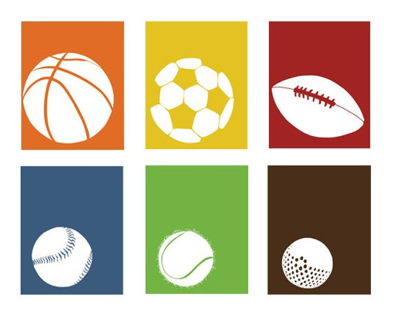 Sports Room Decor, sports nursery set of 3, 13 x 19 Art Prints - available in different sizes and colors