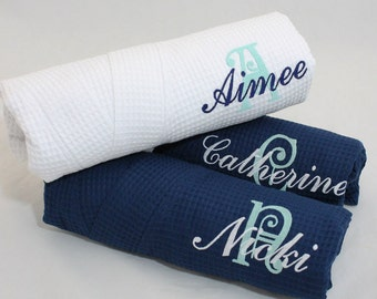 Bridesmaid Gift,  Navy Monogram Robe, Personalized Robe with initial & name, Monogrammed Robe,