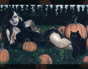 Pumpkin Patch 8.5 x 11 Print Gothic Halloween Pumpkins