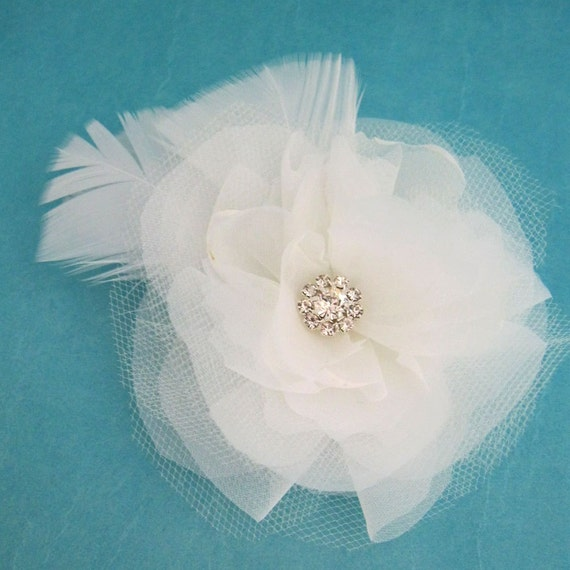 Bridal Hair accessory, White Organza and Tulle Feather Flower Hair Clip  H197 bridal hair accessory