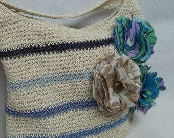 Upcycled vintage Striped beige blue crochet woman shoulder bag,hobo,women crochet bag,handmade flower brooch,beach bag,crochet bag,gypsy
