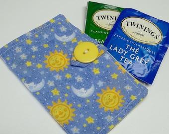 blue cotton moon tea wallet,eco friendly,under 10 dollars,tea wallet,tea bag holder,tea bag caddy,travel teabag,gift,