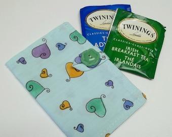 baby blue cotton tea wallet,heart tea wallet,eco friendly,tea wallet,tea bag holder,tea bag caddy,tea bag/condom wallet,travel teabag wallet