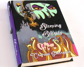"""Secret safe box, hollow book - Sleeping Beauty- """"Maleficent""""-  book hideaway box.  Hidden compartment."""