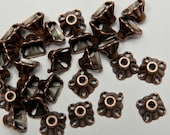 60 Pyramid Bead Caps in Antiqued Copper Tone, Lead/Nickel Free Base Metal Findings, M0436-AC