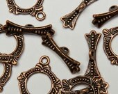 16 Victorian Ring Toggle Clasps in Antiqued Copper Tone, Lead/Nickel Free Base Metal Findings, M0457-AC
