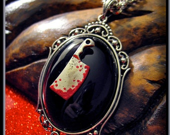 Bloody Meat Cleaver Necklace, Psychobilly Necklace, Gothic Jewelry, Meat Cleaver Pendant, Punk Necklace