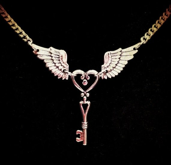 Winged Key Necklace - Antique Silver