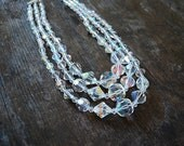 Vintage AURORA BOREALIS necklace / 1950's graduated triple strand NECKLACE / old hollywood necklace