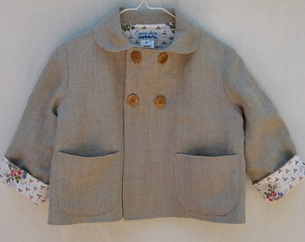 Size 4 Linen Double Breasted Little Girl Jacket
