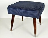 vintage foot stool - navy blue ribbed fabric and dark brown wood legs - ottoman - 1960s