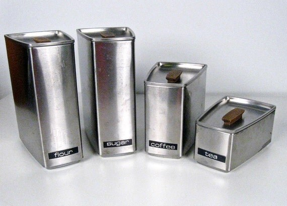 vintage wedge shape brushed aluminum canisters - Lincoln Beautyware - set of 4 - 1960s