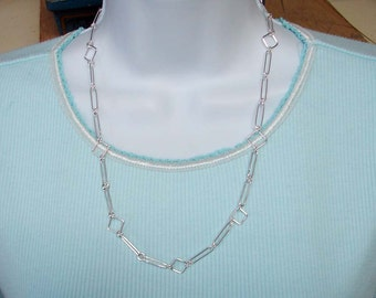 Handmade Sterling Silver Long Link and Square Shaped Links Chain 22 Inches in Length