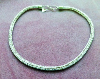 Handmade Fine Silver Viking Knit Necklace 18 Inches in Length