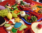 SALE Crochet play food sale over 50 pieces of crocheted and felt play food