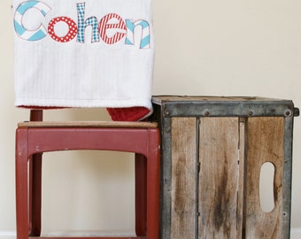 Monogrammed Baby Blanket in FIRE, Red Dot Minky and White Chenille, Personalized with Your Baby Boy's First Name in Reds and Blues