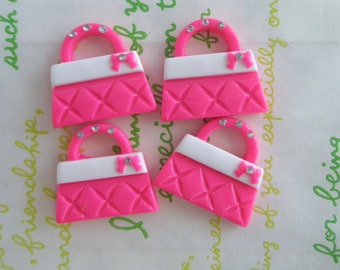 sale Barbie Bag cabochons Set 4pcs Hot Pink
