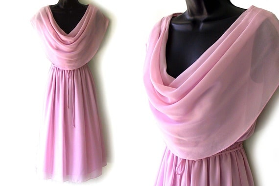 70s Pink Cowl Neckline Sheer Dress S
