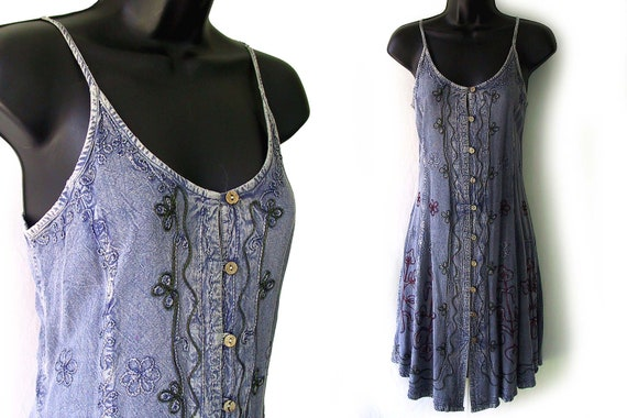 90s Blue with Embroidered Geometric Floral Design Rayon Sundress S M L One Size NWT