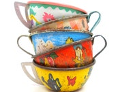 50s Tin Toy Tea cups, 5 extremely shabby chic, Instant Collection.
