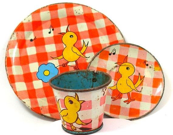 30's tin toy tea set with Singing Birds litho by Ohio Art Co.