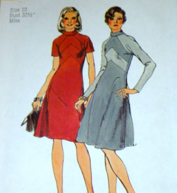 Vintage 1970's Simplicity 6026 Sewing Pattern, Misses' Dress Size 10 Bust 32 1/2 Factory Folded