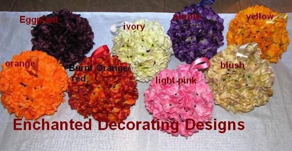 "6"" Silk Flower Kissing Ball Hydrangea Pomander Ball Wedding centerpiece wedding pew decorations wedding centerpiece silk flower"