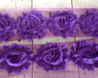Shabby Chic  PURPLE Flower Trim on net-2 1/2 inches-1/2 yard piece
