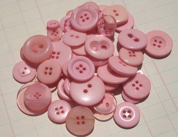 Light Pink Buttons Assorted Round - Sewing Scrapbooking Embellishments - Baby Pink