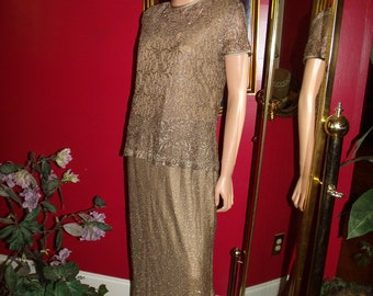 Vintage Flapper Dress  Gold Bronze  Metallic Lace Floral does 20-30 style Size 12