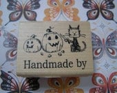 Handmade by - Halloween theme wood mounted Penny Black Rubber Stamp