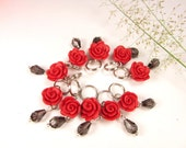 Red Roses Stitch Markers (Set of 10)