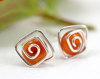 Red agate post earrings spiral sterling silver wire wrapped gemstone