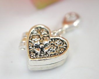 Heart prayer box charm locket silver color lobster claw clasp attachment magnetic closure flower motif design small antiqued silver plated