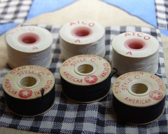 Bobbins-Black and Cream Thread-6 Old Paper Bobbins