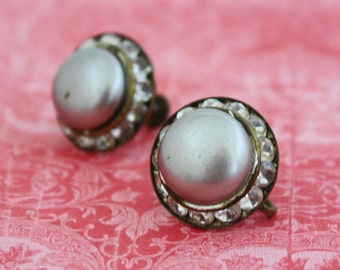 Round Gray Screw On Earrings with Rhinestones - Vintage Costume Jewelry