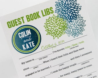 Guest Book Mad Libs PDF FILE Print Yourself Bold Flowers Colors are Customizable
