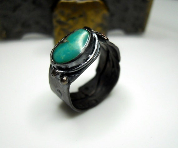 ON SALE - Kingman Turquoise Copper and Sterling Silver Salvage Look Relic Ring
