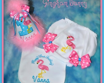 4 Piece Set, FLAMINGO First Birthday Hat, Bib, and  Ribbon Bloomers, and Tutu, You choose colors,  by GINGHAM BUNNY