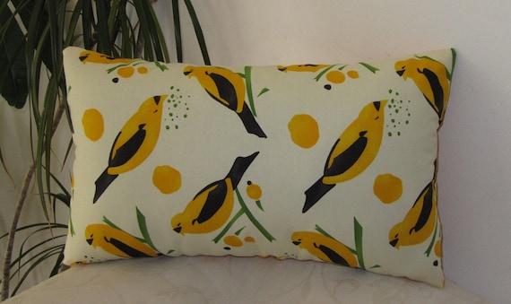 Retro Yellow Birds Lumbar Pillow Cover - Cushion Cover